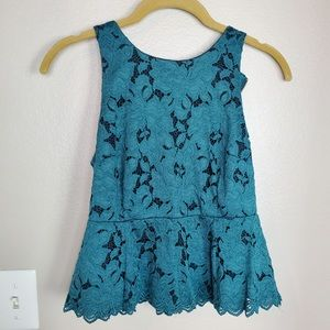 Anthropologie HD in Paris Teal Floral Lace Peplum